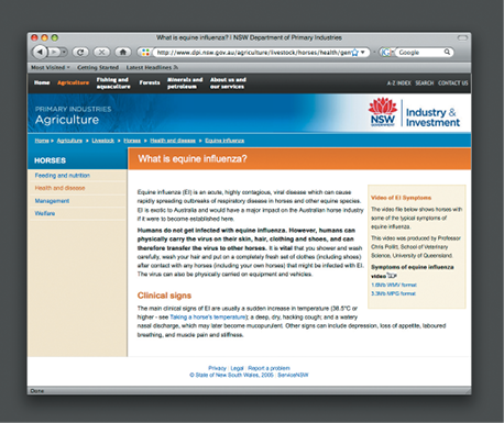 Screenshot of the New South Wales Government Department of Primary Industries Agriculture website displaying content about horses and equine influenza.