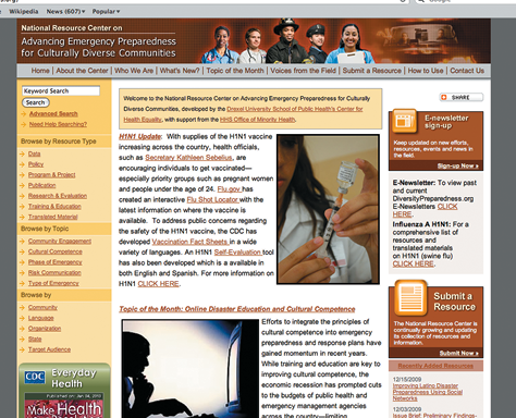 Screenshot of the National Resource Centre website