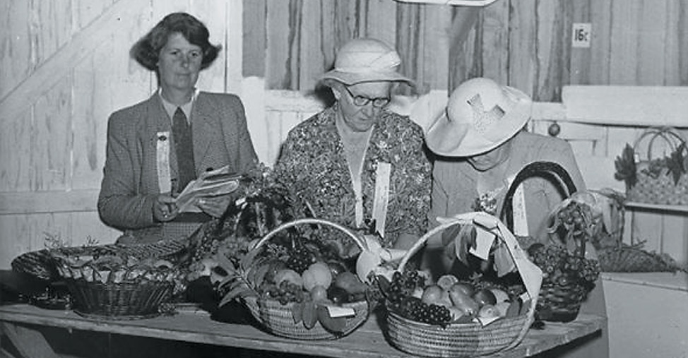 Vintage photograph of three senior women standing behind a table laden with baskets of fresh produce.
