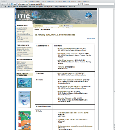 Screenshot of the International Tsunami Information Centre website