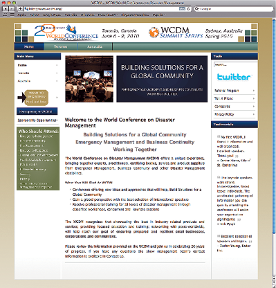 Screenshot of the World Conference on Disaster Management website