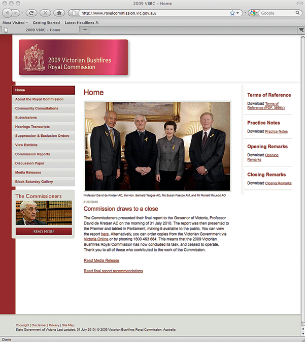 Screenshot of the 2009 Victorian Bushfires Royal Commission website