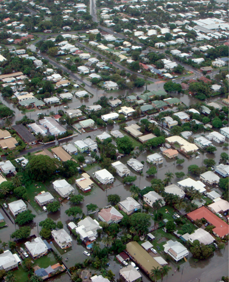Aerial photograph of a flooded residential suburb.