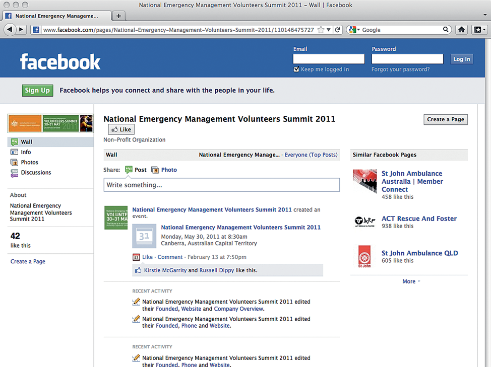 A screenshot of a Facebook page for the National Emergency Management Volunteers Summit 2011.