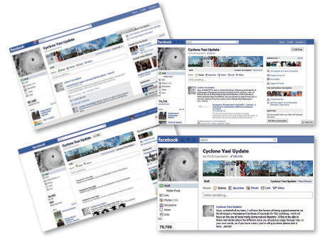 Four screenshots of the Cyclone Yasi Update Facebook page