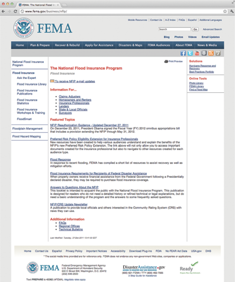 Screenshot of the FEMA National Flood Insurance program web page