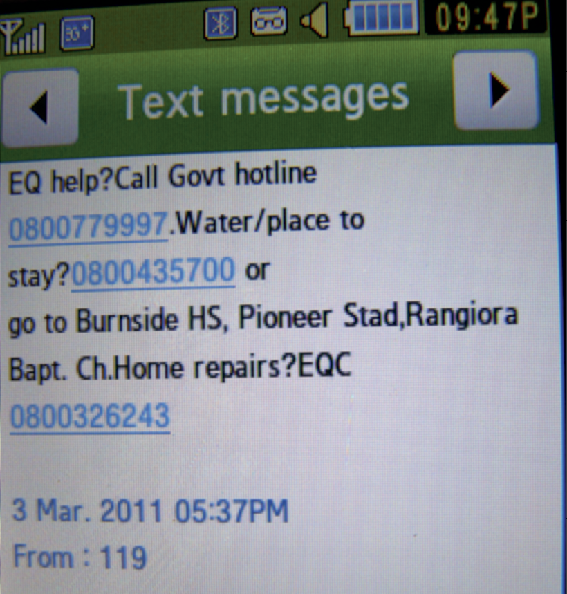 Screenshot of a text message from Civil Defence