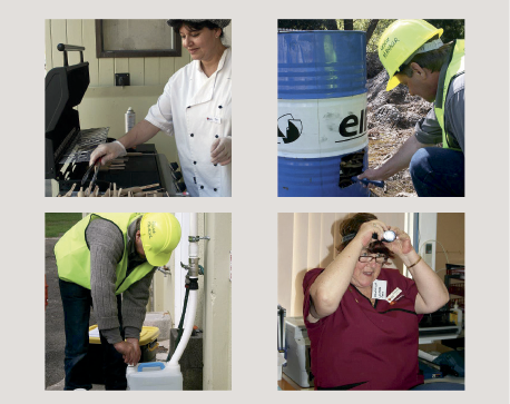 Photographs of hospital staff using alternative water and light sources