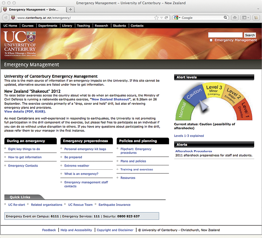 Screenshot of the University of Canterbury Emergency Management website