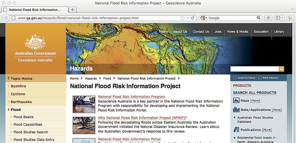Screenshot of National Flood Risk Information Project website.