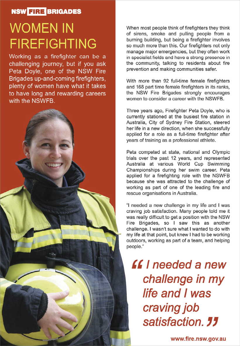 New South Wales Fire Brigades advertisement featuring an image of a smiling young woman dressed in firefighting jacket and holding a helmet.