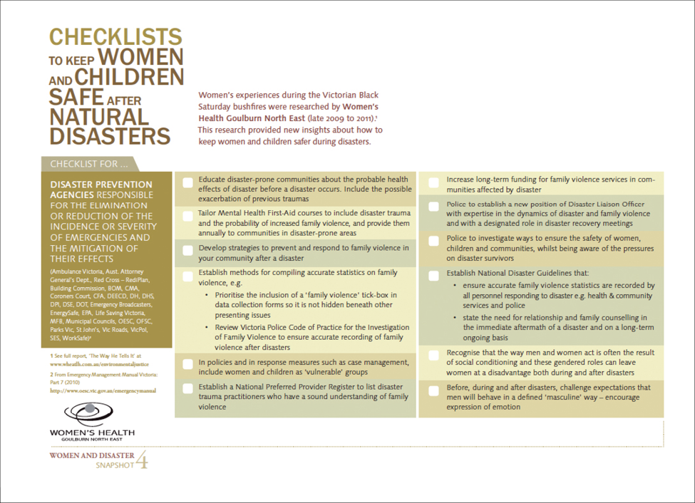 A page of information with the title 'Checklists to keep women and children safe after natural disasters'.