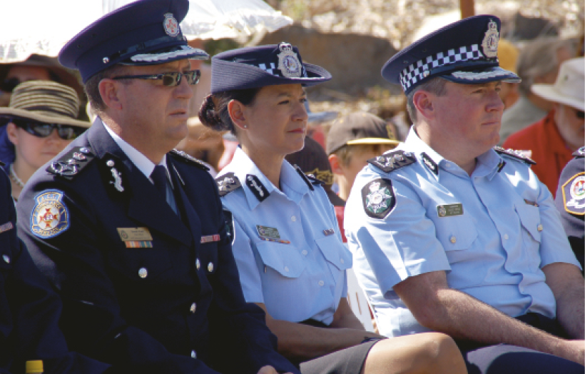 Charmaine Quade from the Australian Federal Police and Officers from the ACT Ambulance and Australian Federal Police