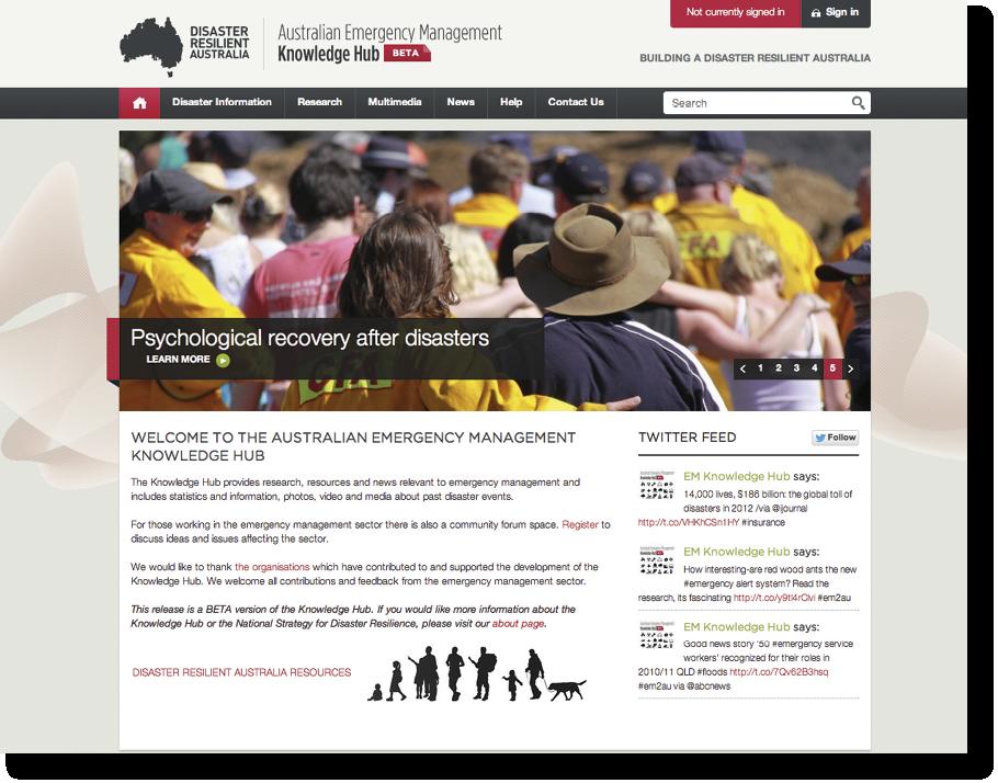 Screenshot of Australian Emergency Management Knowledge Hub website.
