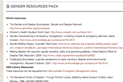 Screenshot of Australian Emergency Management Knowledge Hub website, close-up of the Gender Resources Pack page.
