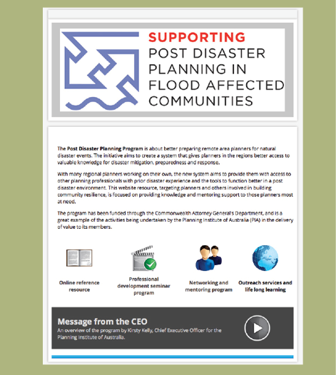 "Screenshot of a webpage with the heading ""Supporting post disaster planning in flood affected communities"""