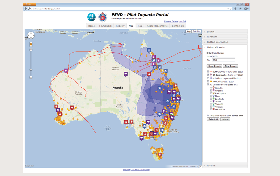 A screenshot shows the FEND Pilot Impacts Portal. On it, a map of Australia is used to show historical events, such as fires, bushfire, cyclones, urban fires and floods. The map also shows flood regions, and cyclone tracks. The interface allows one or multiple visual elements to be seen at a time.