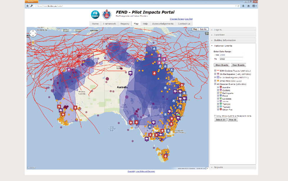 A screenshot shows the FEND Pilot Impacts Portal. On it, a map of Australia has been used to show all historical events across the country, including fires, cyclones, urban fires and floods. The map also shows flood regions and cyclone tracks.