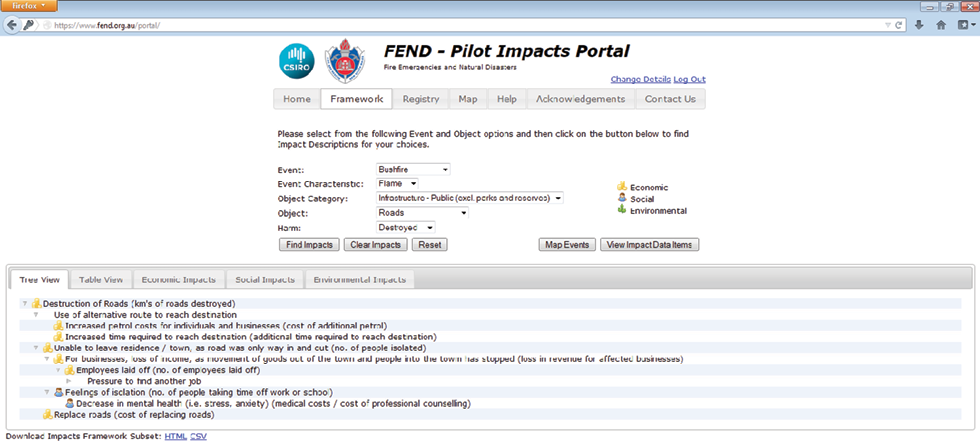 A screenshot shows the FEND Pilot Impacts Portal user interface. Various drop-down boxes can be used to select the event type, characteristic, object category, object, harm, and then a search can be run to identify matching impacts. It is also possible to map events or view impact data items from this interface.