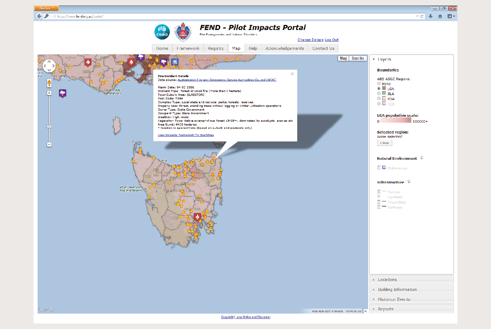 A screenshot shows the FEND Pilot Impacts Portal. On it, a map of Tasmania has been used to show previous fires across that state. One fire incident has been selected, and extensive information about that fire is provided, including the date, incident type, postcode, complex type, and property use.