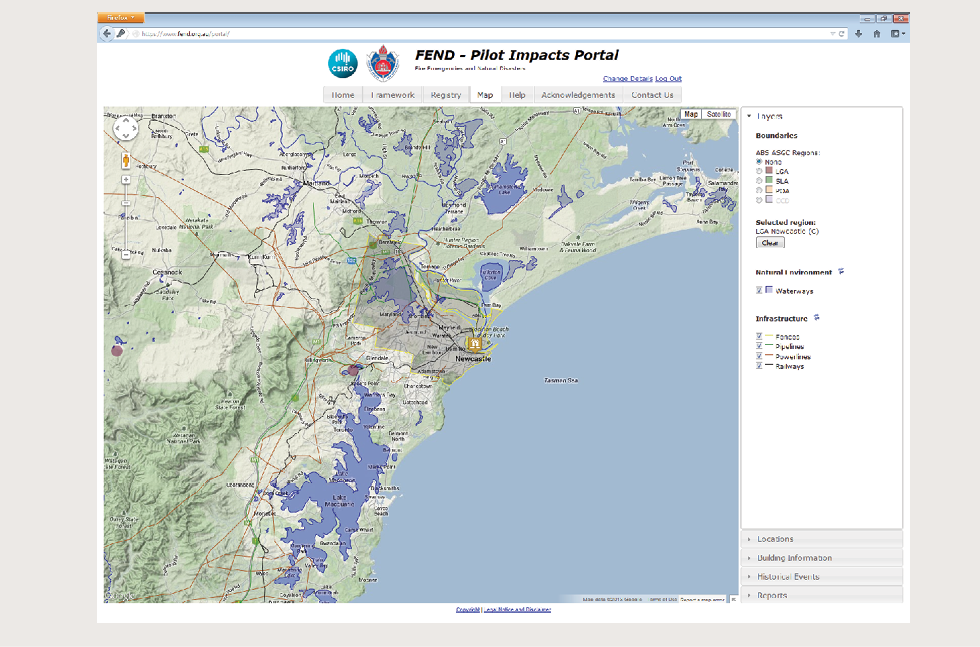 A screenshot uses the FEND Pilot Impacts Portal to show the Newcastle local government area; in particular, waterways surrounding the area are highlighted.