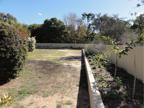 A photograph of a garden and back yard that is surrounded by a tall concrete wall. Adjacent to the wall on the inside is a lower concrete wall, forming a garden bed.