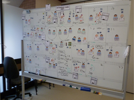 A whiteboard that has been used to plan a disaster management exercise.