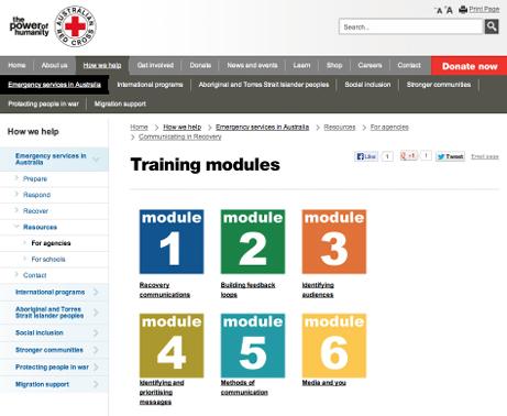 A screenshot of the Red Cross website's six training modules.