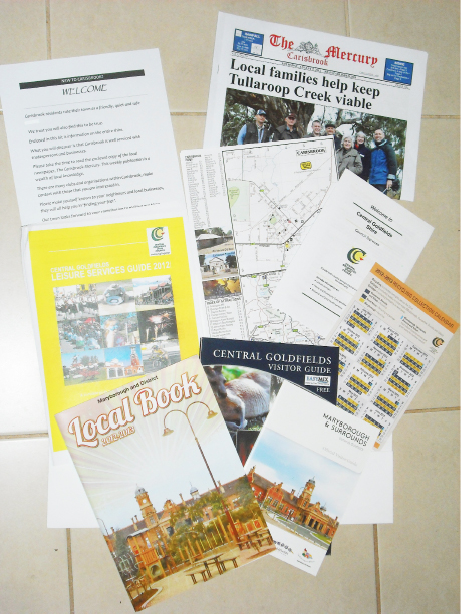 A Carisbrook Welcome Kit includes a copy of The Carisbrook Mercury, the Maryborough and District Local Book 2012–2013, a Central Goldfields Visitor Guide, a recycling collections calendar, a brochure welcoming residents to Central Goldfields Shire, a map of the local area, a Central Goldfields Leisure Services Guide, and a welcome letter.