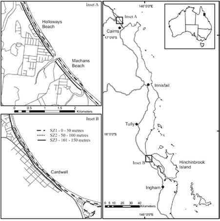 A simple map showing the relative location of the study sites in north Queensland, between Cairns northern beaches and Ingham. Holloways Beach/Machans Beach and Cardwell are also shown closer up.