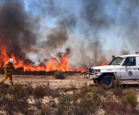 A person in firefighting uniform walks towards a ute parked in front of a line of fire and smoke.