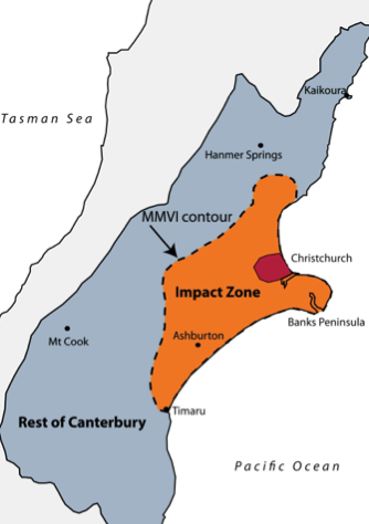 A map of New Zealand's south island, with the impact zone surrounding Christchurch on the east coast.
