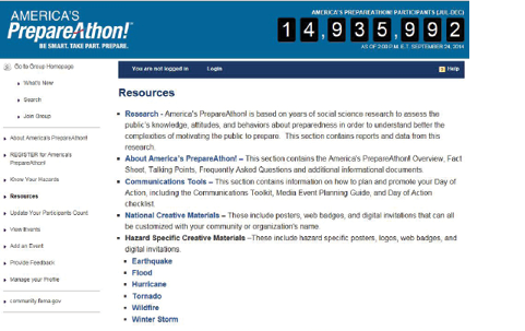 A screenshot of the PrepareAthon! webpage
