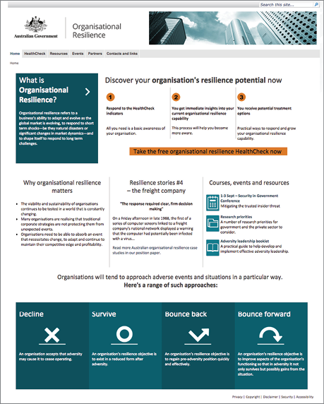 A screenshot of the organisational resilience website.