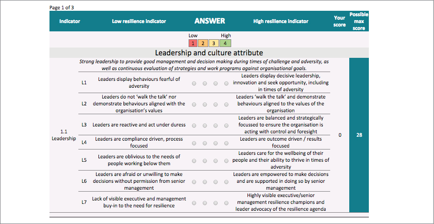 A screenshot of the organisational resilience website's 'leadership and culture attribute' page.