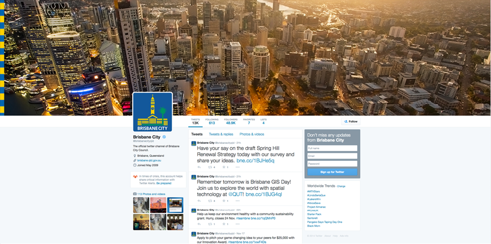 Screenshot of the Brisbane City Council Twitter homepage.