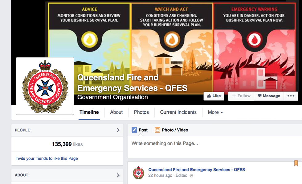 Screenshot of the Queensland Fire and Emergency Services Facebook page.