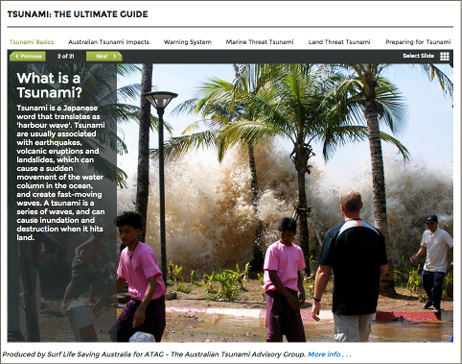 Screenshot of the tsunami guide webpage, describing what a tsunami is.