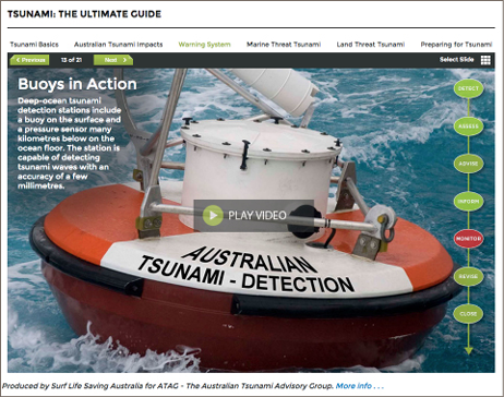 Screenshot of the tsunami guide webpage, describing how tsunami-detecting buoys work.