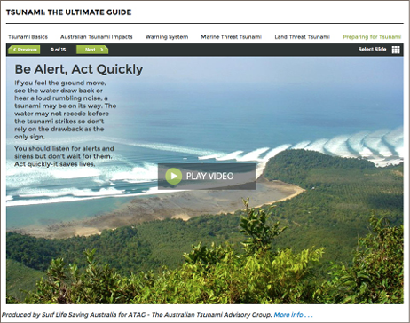 Screenshot of the tsunami guide webpage. A video describes what to do if you think a tsunami is coming.