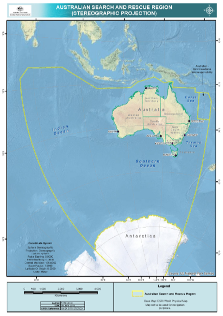 A map showing Australia's search and rescue region. It extends from the sea north of Australia, into the Indian Ocean to the west and the Tasman Sea to the east, and across the Southern Ocean and parts of Antarctica.