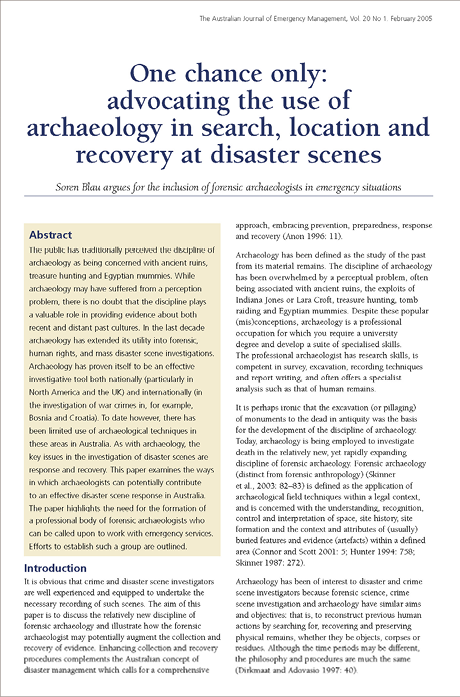 Photo of the first page of the original report, titled 'One chance only: advocating the use of archaeology in search, location and recovery at disaster scenes'.