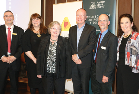 Dr Richard Thornton, Samantha Chard, Dr Helen James, Andrew Coghlan, Professor Stephen Dovers and MC Catherine McGrath