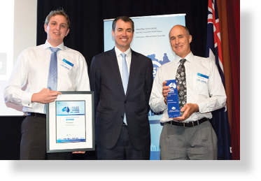 A photo of Hon. Michael Keenan MP with award winners Ray Laine and Chris Cook