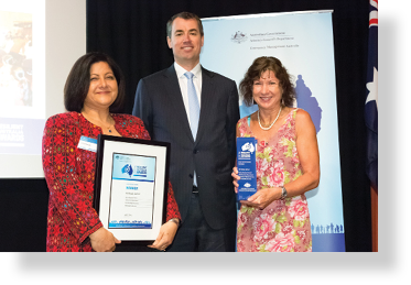 A photo of Hon. Michael Keenan MP with award winners Hala Kattab and Sioux Campbell