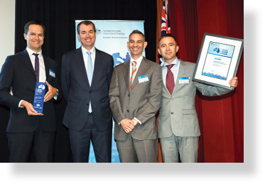 A photo of Hon. Michael Keenan MP with award winners Filippo Dall'Osso, Dale Dominey-Howes and Stephen Summerhayes