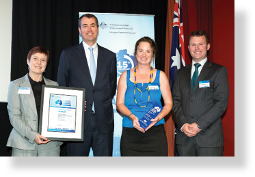 A photo of Hon. Michael Keenan MP with award winners Sandra Barber, Mai Frandsen and Peter Middleton