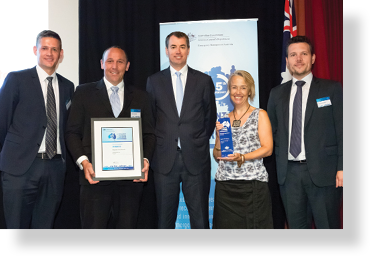 A photo of Hon. Michael Keenan MP with award winners Owen Prime, Simon Rickard, Julie Groome and Charlie Forsyth