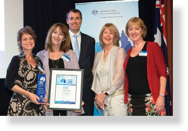 A photo of Hon. Michael Keenan MP with award winners Claire Zara, Debra Parkinson, Susie Reid and Helen Riseborough