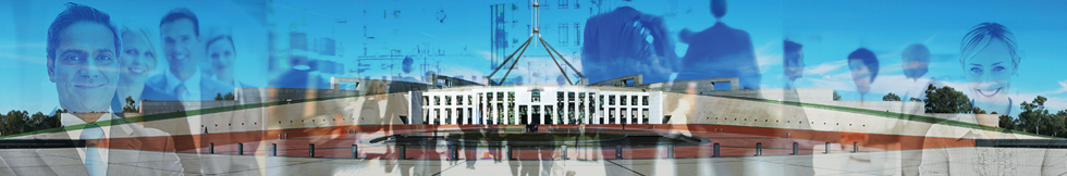 A photomontage of business people superimposed on Parliament House